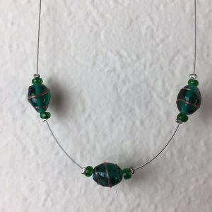 Emerald Green Three Glass Bean Necklace